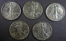 ( 5 ) 1941 WALKING LIBERTY HALF DOLLARS, AU/AU+