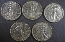 ( 5 ) 1942 WALKING LIBERTY HALF DOLLARS, AU/AU+