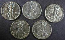 ( 5 ) 1945 WALKING LIBERTY HALF DOLLARS, AU/AU+