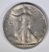 1933-S WALKING LIBERTY HALF DOLLAR AU/UNC  RARE, HARD TO FIND THIS NICE