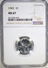 1943 LINCOLN CENT NGC MS-67