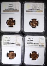 2 1948-S, 54-S, 57-D LINCOLN CENTS NGC MS-66 RD