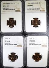 (2) 1960 LARGE DATE AND (2) 1962 LINCOLN CENTS, ALL NGC PF-68 RD