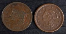 1838 & 1854 LARGE CENTS, VF