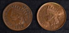 1898 & 1903 INDIAN HEAD CENTS, CHOICE BU
