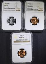 1943-S, 48-S, 54-S LINCOLN CENTS NGC MS-66 RD