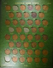 PARTIAL LINCOLN CENT COLLECTION: MISSING 1909-S VDB, 1914-D, 1915-S, 22 PLAIN, &