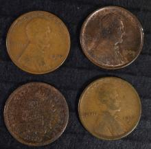 CENTS: 1870 INDIAN HEAD GOOD, 1912-S LINCOLN VG, 1924-D LINCOLN VG & 1909 VDB