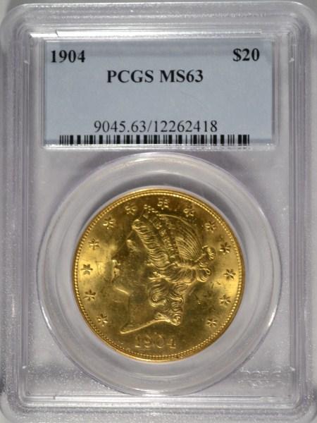 1904 UNITED STATES $20.00 LIBERTY GOLD PIECE , PCGS MS-63