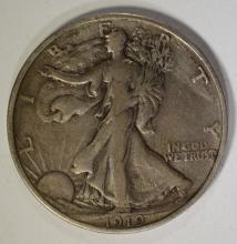 1919-S WALKING LIBERTY HALF NICE VF