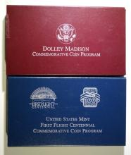 1999 DOLLEY MADISON & 2003 FIRST FIGHT Pf COMMEM SILVER DOLLARS IN ORIG BOX/COA