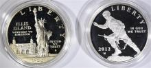 1986 LIBERTY & 2012 INFANTRY PROOF COMMEMORATIVE SILVER DOLLARS IN CAPSULES