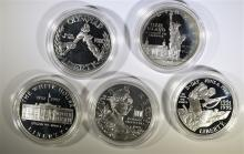 5 - SILVER PROOF COMMEM DOLLARS; 1995 D-DAY, 1999 DOLLY MADISON, '92 WHITE HOUSE