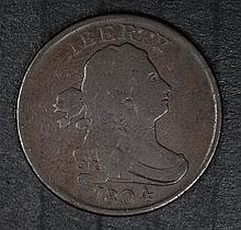 1804 DRAPED BUST HALF CENT, FINE