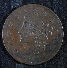 1837 LARGE CENT, VF+