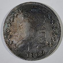 1809 CAPPED BUST HALF DOLLAR, VF  cleaned
