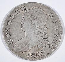 1826 CAPPED BUST HALF DOLLAR, VF/XF  SLIGHTLY BENT