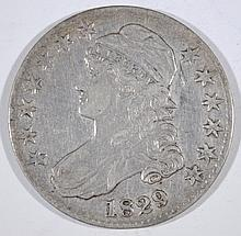 1829 CAPPED BUST HALF DOLLAR, XF
