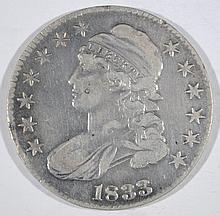 1833 CAPPED BUST HALF DOLLAR, F/VF