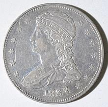 1837 CAPPED BUST REEDED EDGE HALF DOLLAR, XF