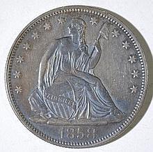 1858 SEATED HALF DOLLAR, AU+