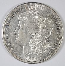 1884-S MORGAN SILVER DOLLAR, AU  KEY DATE