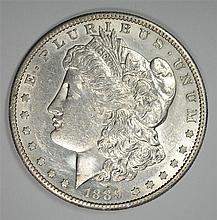 1889-S MORGAN SILVER DOLLAR, AU/BU  KEY DATE
