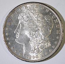 1890-S MORGAN SILVER DOLLAR, CHOICE BU