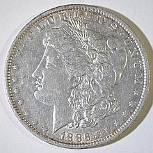 1886-O MORGAN SILVER DOLLAR, AU/BU