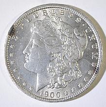 1900-O MORGAN SILVER DOLLAR, CHOICE BU+
