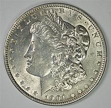 1901 MORGAN SILVER DOLLAR, AU/BU