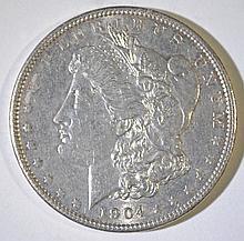 1904 MORGAN SILVER DOLLAR, CHOICE BU