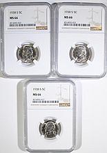 (3) 1938-S JEFFERSON NICKELS NGC MS66