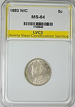 1883 WITH CENTS LIBERTY NICKEL, LVCS CH/GEM BU