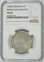 1930D SILVER 3 MARKS GERMANY NGC AU 58