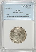 1458-1488 SILVER GROS FRANCIS II, BRITTANY FRANCE NNC AU/BU