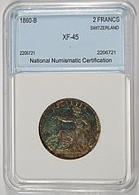 1860-B SILVER 2 FRANCS SWITZERLAND NNC XF, 1ST YEAR OF TYPE  SCARCE