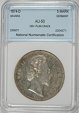 1874-D SILVER 5 MARKS BAVARIA GERMANY NNC AU 1ST YEAR OF TYPE