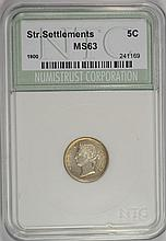1900 5 CENTS SILVER STRAITS SETTLEMENTS NNC CH BU  VERY SCARCE