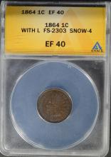 1864 INDIAN HEAD CENT, WITH L, ANACS EF 40