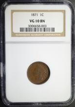 1871 INDIAN HEAD CENT NGC VG 10 BN