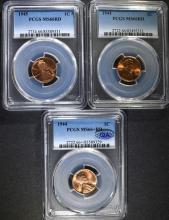 PCGS GRADED LINCOLN CENTS: 1944 MS-66+ QA STICKER  AND 1944 & 1945 MS-66