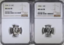1941-D & 1943 MERCURY DIMES, NGC  MS-66 FULL BANDS
