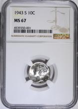 1943-S MERCURY DIME, NGC MS-67