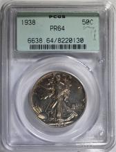 1938 PROOF WALKING LIBERTY HALF DOLLAR, PCGS PR-64 OLD GREEN HOLDER