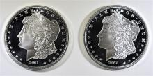 2 - 1oz .999 SILVER ROUNDS - MORGAN DESIGN - PROOF LIKE