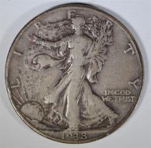 1938-D WALKING LIBERTY HALF DOLLAR, FINE+
