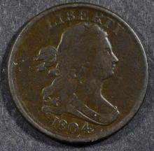 1804 DRAPED BUST HALF CENT, VF