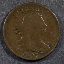 1807 BUST HALF CENT, VG/FINE