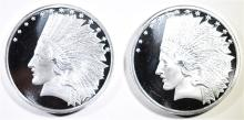 ( 2 ) ONE OUNCE .999 SILVER ROUNDS  ( INDIAN HEAD/EAGLE